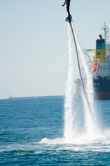 flyboard show in the ionian sea
