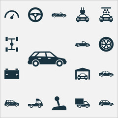 Automobile Icons Set. Collection Of Plug, Carriage, Lorry And Other Elements. Also Includes Symbols Such As Lever, Crossover, Steering.