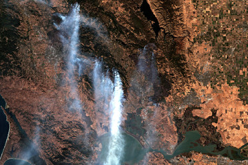 Wildfires in California in October 2017 seen from space - Modified elements of this image furnished by ESA