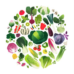 Clip art set of vegetables and herbs managed into a round shape