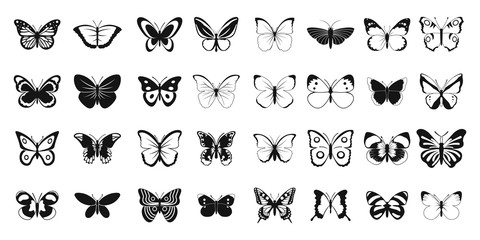 Butterfly icon set, simple style