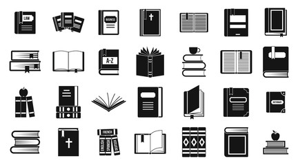 Books icon set, simple style