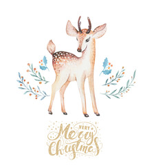 Christmas watercolor deer. Cute kids xmas forest animal illustration, new year card or poster. Hand drawn isolated baby animals.