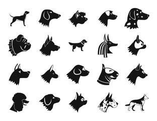 Dog icon set, simple style