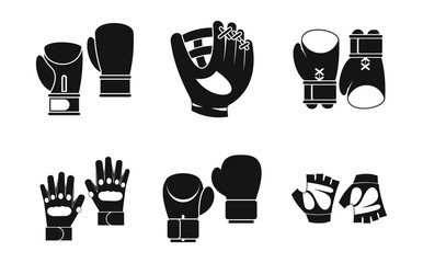 Sport gloves icon set, simple style