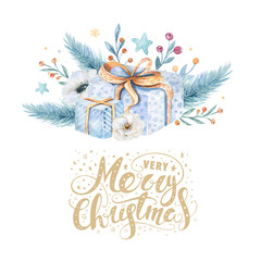 Wall Mural - Merry Christmas watercolor cards with floral elements. Happy New Year lettering posters. Winter flower and branch bouquets decoration.
