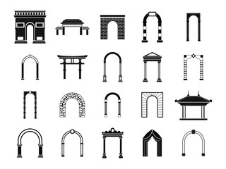 Arch icon set, simple style Fotomurales