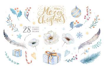 Merry Christmas watercolor set with floral elements. Happy New Year lettering poster collection. Winter flower and branch bouquets decoration.