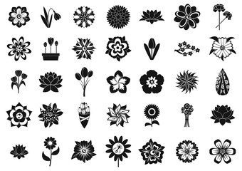 Flower icon set, simple style