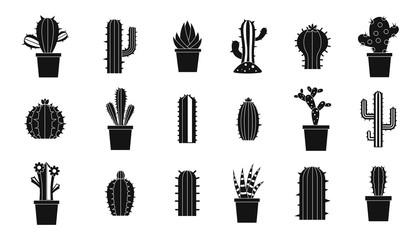 Cactus icon set, simple style