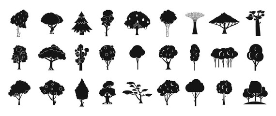 Tree icon set, simple style