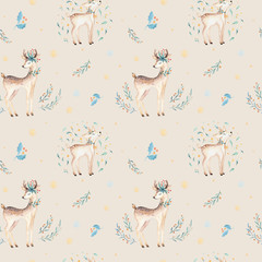 Seamless Christmas baby deer seamless pattern. Hand drawn winter backgraund with deer, snowflakes. Nursery xmas animal illustration. New year design.