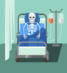 Dead patient. Too slowly medicine help. Health care problems. Vector flat cartoon illustration