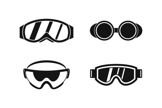 Protect glasses icon set, simple style