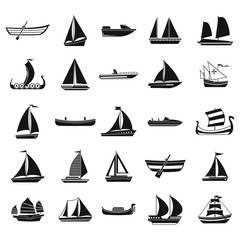 Boat icon set, simple style