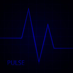aqHeart pulse. Electrocardiogram. Heartbeat. Vector medical background with heart cardiogram.