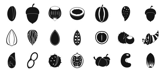 Nuts icon set, simple style
