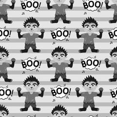 Abstract seamless pattern for girls or boys. Creative vector background with a werewolf, halloween. Funny wallpaper for textile and fabric. Fashion style. Colorful bright picture for children.