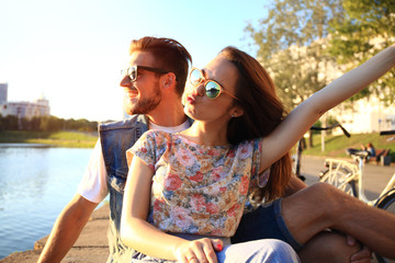 Young couple in love outdoor.Love,relationship and people concept