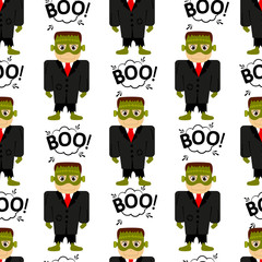 Abstract seamless pattern for girls or boys. Creative vector background with a frankenstein, halloween. Funny wallpaper for textile and fabric. Fashion style. Colorful bright picture for children.