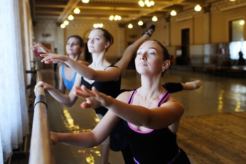 group of cute young professional ballet dancers in ballet class