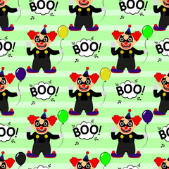 Abstract seamless pattern for girls or boys. Creative vector background with a clown, scary face, halloween. Funny wallpaper for textile and fabric. Fashion style. Colorful bright picture for children
