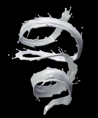 3d milk splash, white liquid, spiral jet, paint, clip art isolated on black background