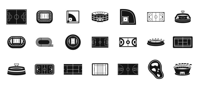 Sport arena icon set, simple style
