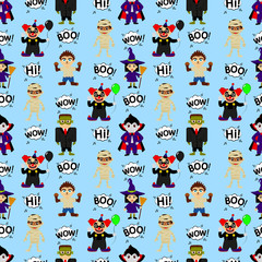 Abstract seamless pattern for girls or boys. Creative vector background with kids in the costumes of monsters, halloween. Funny wallpaper for textile and fabric. Fashion style. bright colors