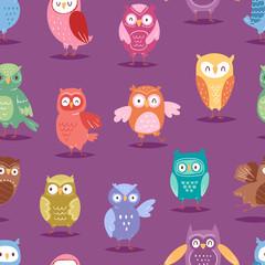 Cartoon owl night fly bird cartoon style vector set character different pose seamless pattern background