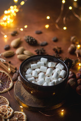 Cup of traditional hot chocolate or cocoa with marshmallow, cinnamon, nuts and spices on dark stone table