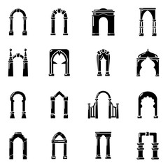 Arch types icons set, simple style
