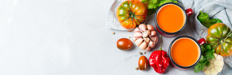 Tomato pepper soup gazpacho with garlic