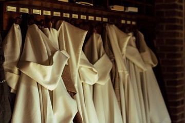 religious nun habits hanging in cathedral