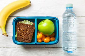 Photo of fitness lunch, bottle of water