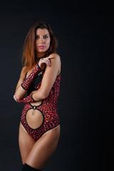 Image of sexy brunette in red underwear