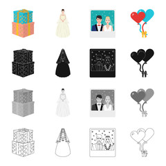 Wedding gifts, bride, photo of newlyweds, balloons. Wedding set collection icons in cartoon black monochrome outline style vector symbol stock isometric illustration web.