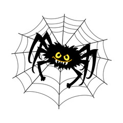 Vector Black Cartoon Spider Sitting on the Cobweb