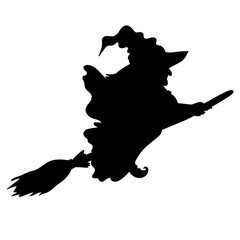 Vector Silhouette of Halloween Witch