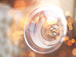 lens digital camera, selective focus, close-up, side with reflection, bokeh, isolated on white background