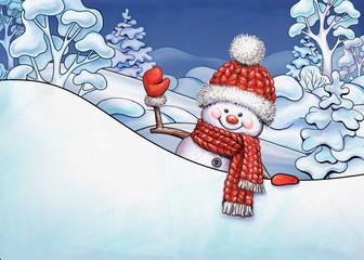 Christmas illustration, winter landscape, cartoon snowman waving hand, holding blank banner, holiday card