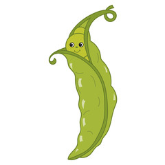 Vector Cartoon Green Peas in Pod