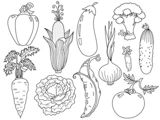 Vector Black and White Vegetables Set