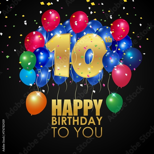 Happy Birthday 10th With Golden Number And Colorful Balloons