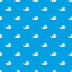 Airplane fly around the planet pattern seamless blue