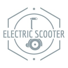 Electric scooter logo, simple gray style