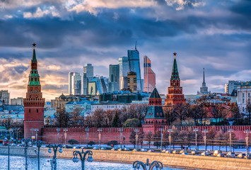 Moscow City and Kremlin