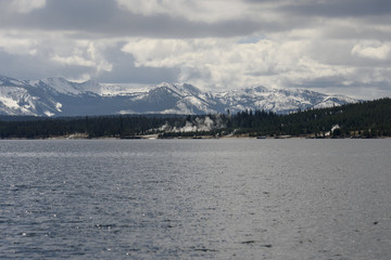 West Thumb seen from far away on Lake Yellowstone at Yellowstone National Park