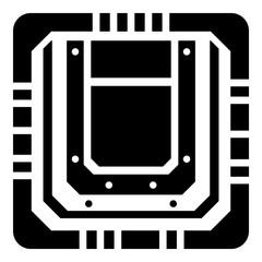 Modern microchip icon, simple black style