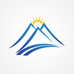 Mountains sun and road logo icon vector design